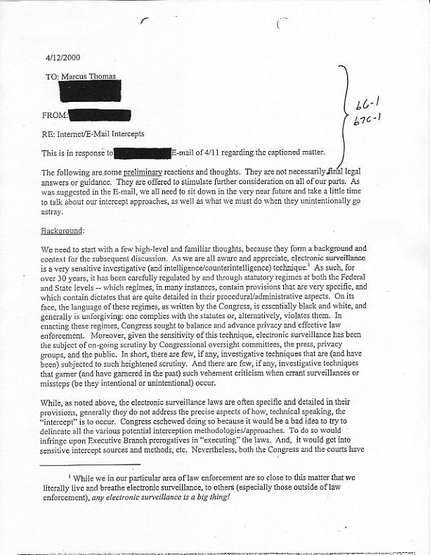 fbi memo responding to carnivore legal questions